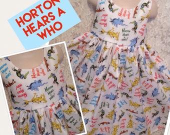 Horton Hears a Who * Dr Seuss Cat in the Hat handmade dress jumper CUSTOM SIZES girl 2 3 4 5 6 7 8 10 12 14