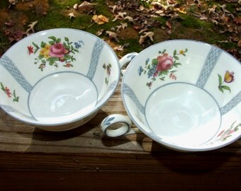 SALE 2 CROWN STAFFORDSHIRE Wildflower Double Handle Tea Cups Teacups  1031