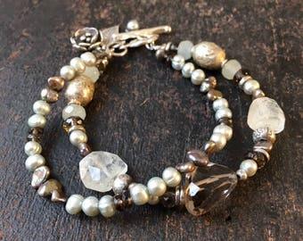 Smokey Quartz Bracelet, Aquamarine Bracelet, Freshwater Pearl Bracelet, Double Strand Bracelet, Brown Bracelet, Blue Bracelet