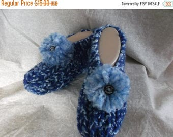 Tax Day 15% Women's  Handmade Knitted Blue Slipper Size 6, 7, or 8 with Pompoms and Wooden Button