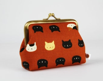Metal frame change purse - Neko cats in ochre - Deep dad / Kawaii japanese fabric / Black metallic gold caramel brown white