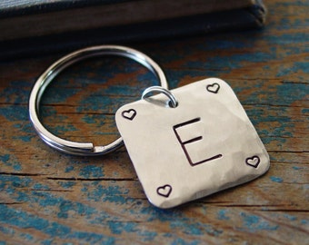 Valentine's Gift, Initial Keychain with Hearts, Personalized Gift, Monogram Keychain, Gift For Her, Heart Keychain,Wife Gift,Girlfriend Gift