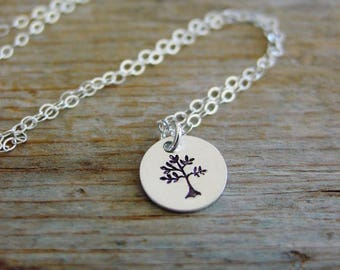 Tree of Life, Tiny Tree Necklace, Sterling Silver, Custom Hand Stamped, Family Tree, Tree of Life Jewelry, Gift For Her,Mothers Day Jewelry