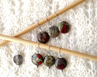 Knitting Stitch Markers - Dragon Blood Jasper - snag free loops - 12mm flat round stones and silver - set of 5 7 9 - two loop sizes