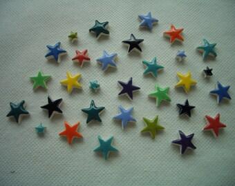 30CST - TINY Colorful STARS  - Ceramic Mosaic Tiles