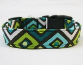 Dog Collar-Southwest- Aztec-Navajo Print Green Blue Black White- Choose Buckle or Martingale- Pet Collar- 1 inch 1.5 -2 inch width