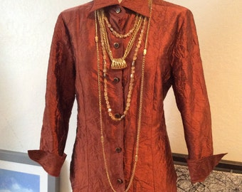 Vintage rust color crinkled button down shirt, copper color crinkled long sleeve blouse, sz 8 rust color top, crinkled silk copper color top