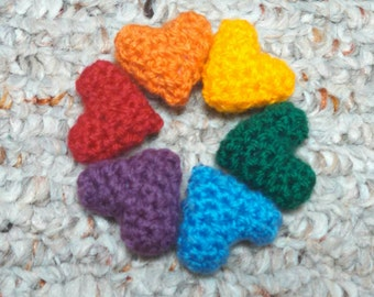 Heart Rainbow - mini crochet hearts tiny hearts miniature hearts amigurumi hearts love hearts rainbow Valentine's Day gift