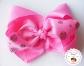BOW BLOWOUT---Large Boutique 6 Loop Hair Bow Clip---Hot Pink---Glitter and Tulle  Bow Collection