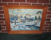Vintage Mid Century Large Paint by Number Framed Painting of Rural Winter Scene