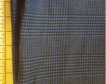 Royal Blue and Black Glen Plaid guessing Rayon and or Cotton Suitweight Fabric almost 6yd