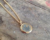 VINTAGE FLORAL NECKLACE - vintage necklace- vintage pressed flowers pendant- cool old piece