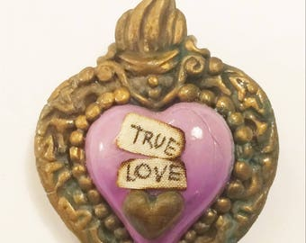 Polymer Clay EX-VOTO violet purple heart brooch, hand sculpted jewelery, sacred heart, religious jewels, victorian, gothic brooches