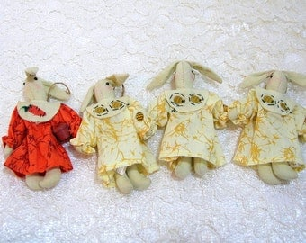 Bunny Doll Magnets, Set of Four