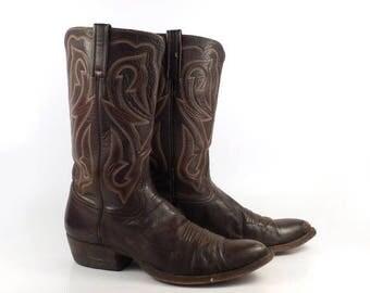 Men's Cowboy Boots Vintage 1980s Western Brown