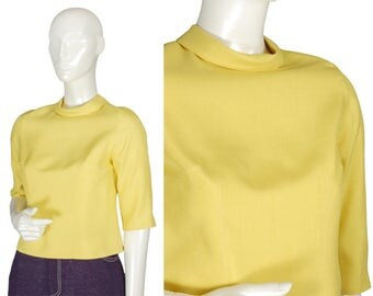 vintage 60s hollandaise yellow roll neck crop top, boxy cut half shirt, elbow sleeve, back zip, rear collar points, faux vegan silk, size XS