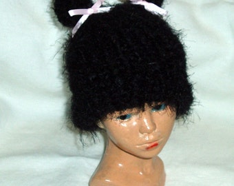 Kitty hat - Knit nylon/Acrylic blend -  Black with Pink Bows