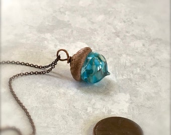 Glass Acorn Necklace - Aquamarine Turquoise - by Bullseyebeads