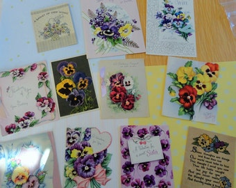 PANSIES and More Pansies in Vintage All Occasion Lot No 191 Four are Unused Birthday Easter Valentine Get Well 11 Cards
