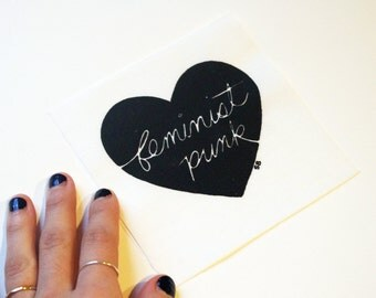 Feminist Punk Patch - black and white heart
