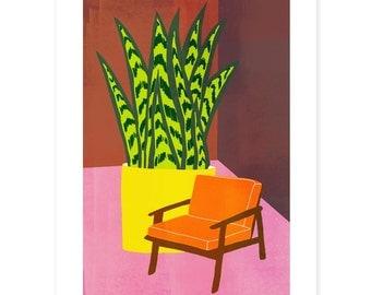 Orange Chair Print // Colourful Print // Mid Century Print // Botanical Print // Botanical Illustration