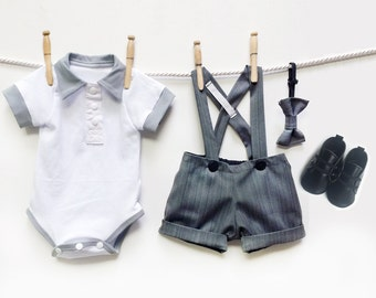 Grey Pinstripe Page Boy Outfit, Baby Boy Wedding Outfit, Little Gentleman Outfit, Baby Suit, Baby Boy Birthday Outfit, Ringbearer Outfit
