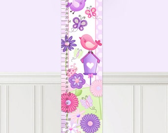 Canvas GROWTH CHART Once Upon a Garden Growth Chart Girls Bedroom Nursery Personalized Canvas Growth Chart Gc0293