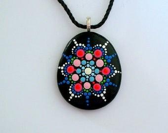 Unique ooak 3D dot art painted rock pendant necklace-mandala stones-beach fashion-statement jewelry-summer gift under 50-yoga art-neon glow