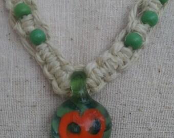 Handmade Glass Pendant hemp Necklace