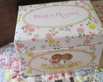 So Cute a Vintage Mint Condition Brides Record Recipe Style Box with Inserts and Index