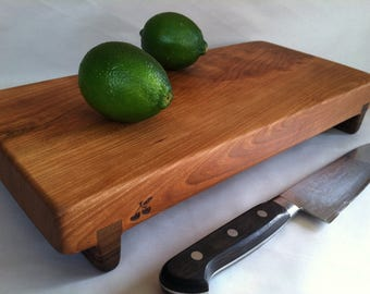 Thick RECLAIMED Beautiful CHERRY Raised serving/cutting board eco hardwoods