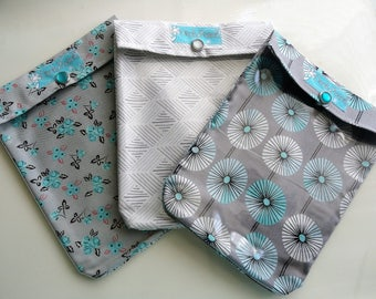Aqua & Gray Ouch Pouch 3 Pack Medium 5x7 Clear Organizers for First Aid Make Up Diaper Bag Purse Travel Supplies Mothers Day Under 10 each