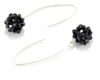 Black Swarovski Crystal Earrings, Dangle Earrings, Gift for Her, Black Dangle Earring, Handmade Earring