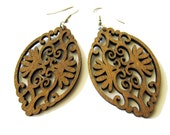 Brown Baroque Style Oval Wooden Earrings