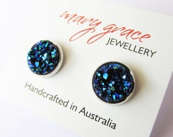 Electric Blue Faux Resin Stud Earrings