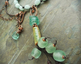 Sea Green Y Necklace with Rustic Stoneware and Recycled Glass