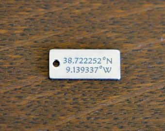 Your Coordinates Custom Laser Engraved Stainless Steel Rectangle Charm CC234