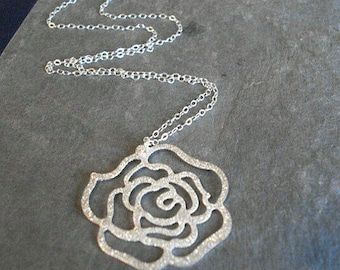 Silver Rose Necklace Silhouette Necklace Rose Pendant Rose Jewelry