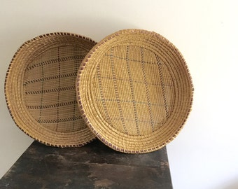 vintage Large shallow baskets / large woven wall hangings / large baskets