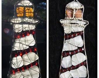Lighthouse Sea Glass Suncatcher or Ornament