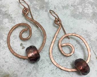Hammered Swirls  Earrings. Sterling Silver. Copper. Brass. Hand Formed Earrings. Everyday Style.
