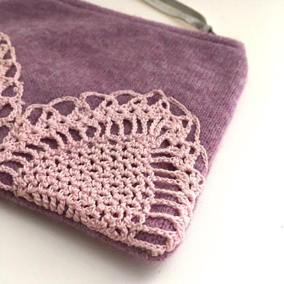 Lilac doily small purse