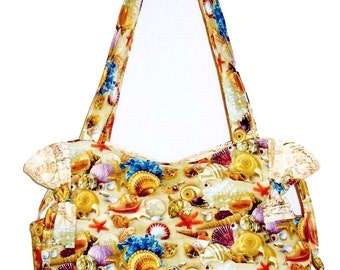 Shells Beach Sand Starfish - Handbag, Purse, Tote, Shoulder Bag, Outside Pockets