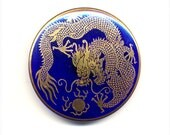 Large Cobalt Blue  Czech Glass Transfer Button With Gold Luster -Asian  Dragon    - 1 5/8 Inch Diameter - Brass Wire Shank