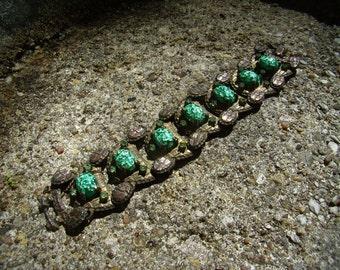 Vintage Faux Opal Link Bracelet Reptile Embossed