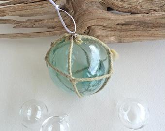 "BEACH DECOR CHRISTMAS ornament, Glass Float Ornament No. 10,  vintage Japanese fishing float, nautical Christmas, coastal Christmas, 3"""