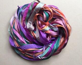 Silk Ribbon Remnants - Purple, Orange, Peach and Teal