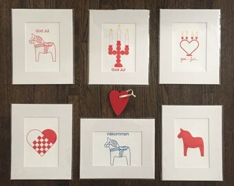 Letterpress Swedish Scandinavian Prints Heart Candelabra, God Jul, Dala Horse, Valkommen  8x10 print, matted