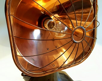 Repurposed Vintage Heat Lamp / Table or Wall Lamp / Edison Style / Copper Lamp