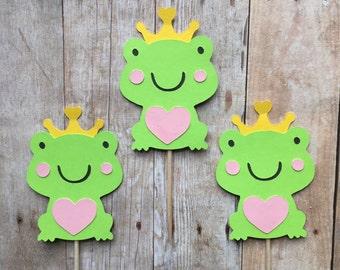 1 Dozen Frog Cupcake Picks-baby shower, birthdays